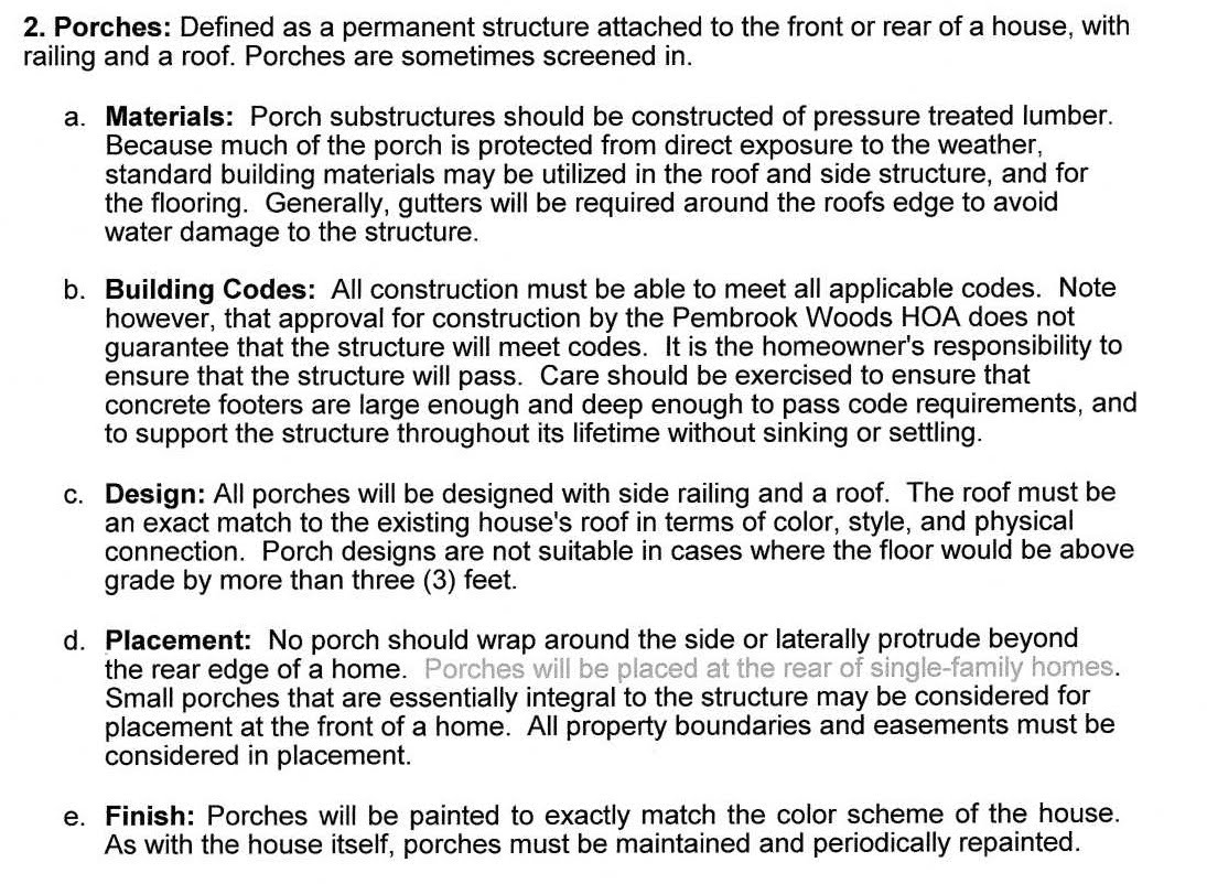 Porches Guidelines
