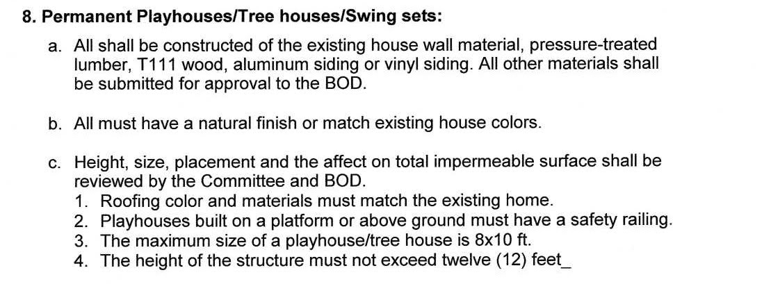 Guidelines for Playhouse/Tree Houses/Swing Sets