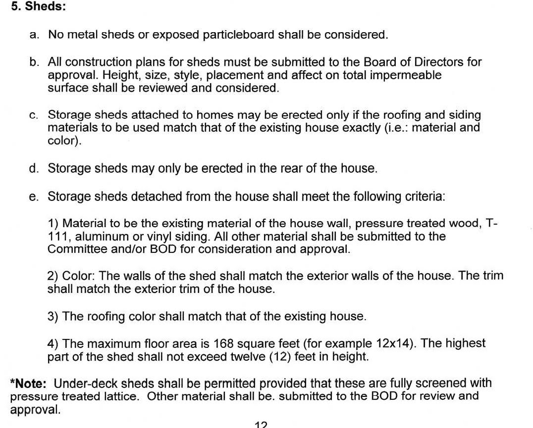 Shed Guidelines