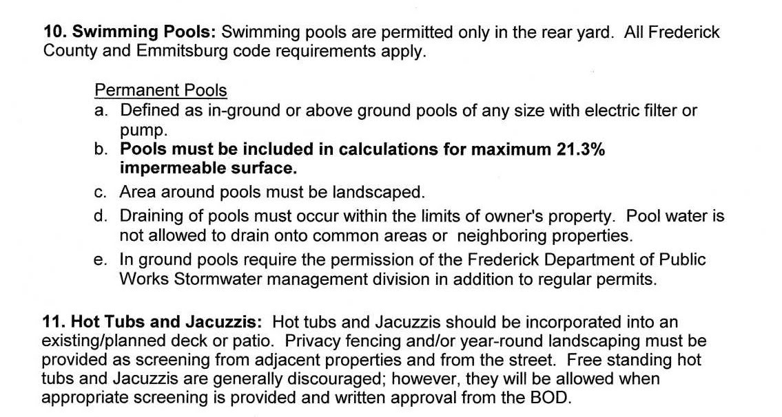 Swimming Pool Guidelines